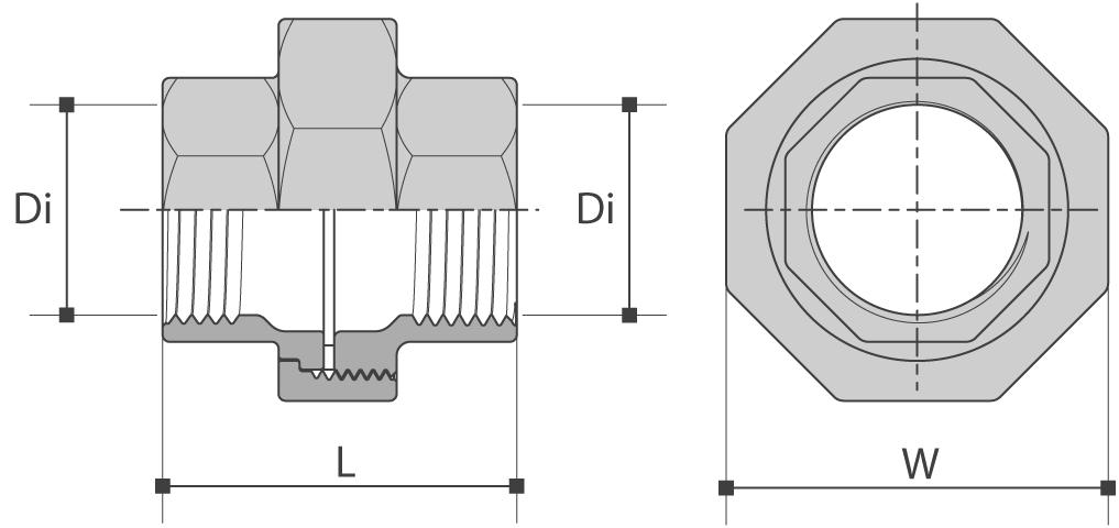 Racord union femelle/femelle à joint plat teflon